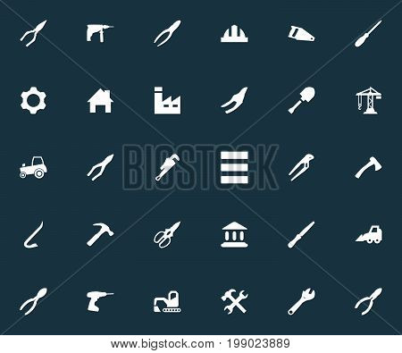 Elements House, Hoisting Machine, Workshop And Other Synonyms Adjustable, Cutters And Crane.  Vector Illustration Set Of Simple Construction Icons.