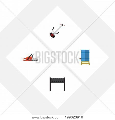 Flat Icon Garden Set Of Barbecue, Grass-Cutter, Hacksaw And Other Vector Objects