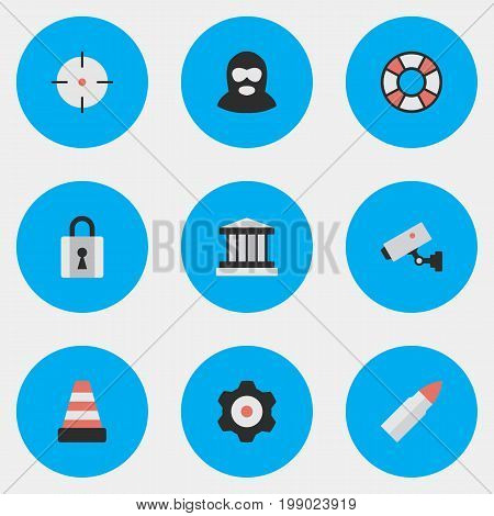 Elements Supervision, Shot, Closed And Other Synonyms Cogwheel, Lifesaver And Gun.  Vector Illustration Set Of Simple Offense Icons.