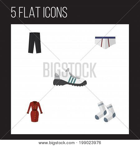 Flat Icon Dress Set Of Clothes, Pants, Foot Textile And Other Vector Objects