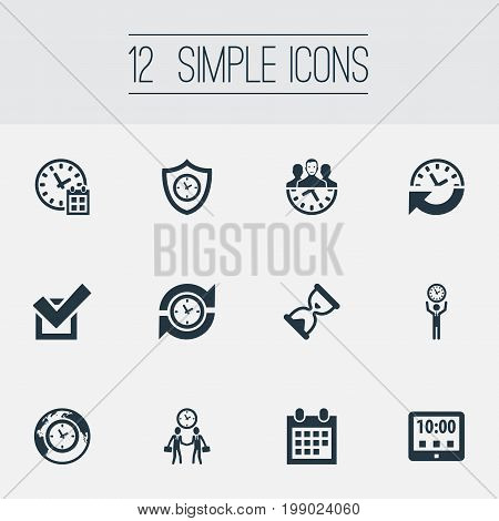 Elements Tablet, Shield, Recurrence And Other Synonyms Meeting, Loading And Yes.  Vector Illustration Set Of Simple Time Icons.