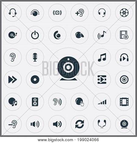 Elements Music, Partymaker, New Album And Other Synonyms Headset, Scale And Earphones.  Vector Illustration Set Of Simple Play Icons.