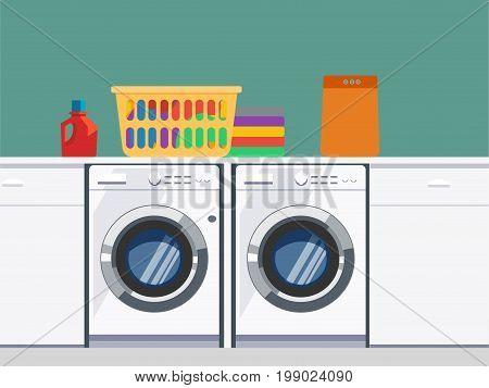Laundry room with washing machine, facilities for washing, washing powder and basket on shelves, Flat style vector illustration.
