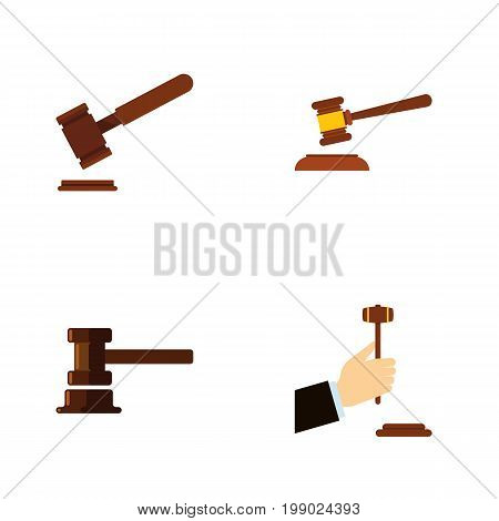 Flat Icon Hammer Set Of Hammer, Law, Justice And Other Vector Objects