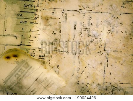 old wet and damaged paper texture with writing