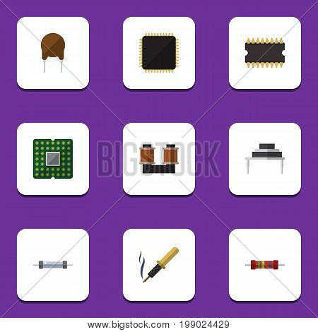 Flat Icon Appliance Set Of Cpu, Microprocessor, Repair And Other Vector Objects