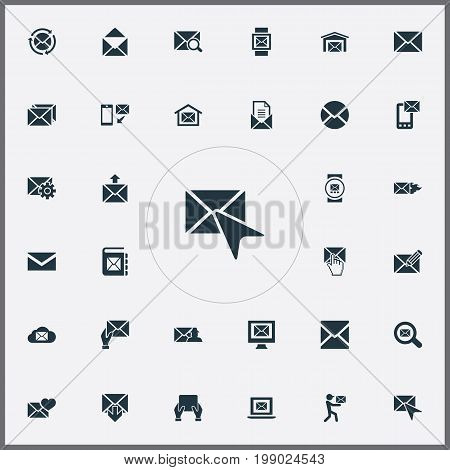 Elements Mailing, Mailman, Letter And Other Synonyms Burn, Quest And Tablet.  Vector Illustration Set Of Simple Message Icons.
