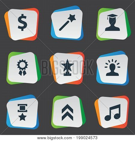 Elements Postgraduate, Money, Avatar And Other Synonyms Triumphant, Student And Postgraduate.  Vector Illustration Set Of Simple Awards Icons.