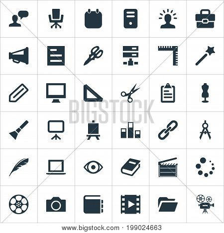 Elements Colums Graph, Wizard Stick, Cinematography And Other Synonyms Dummy, Digital And Server.  Vector Illustration Set Of Simple Designicons Icons.
