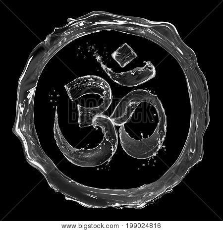 Hindu sign Om made of water splashes on black background