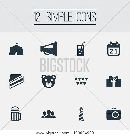 Elements Camera, Decorations, Evening Event And Other Synonyms Piece, Beer And Pub.  Vector Illustration Set Of Simple Celebration Icons.