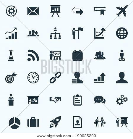Elements Team, Reverse Directions, Worker And Other Synonyms Opposite, Seminar And Victory.  Vector Illustration Set Of Simple Solution Icons.