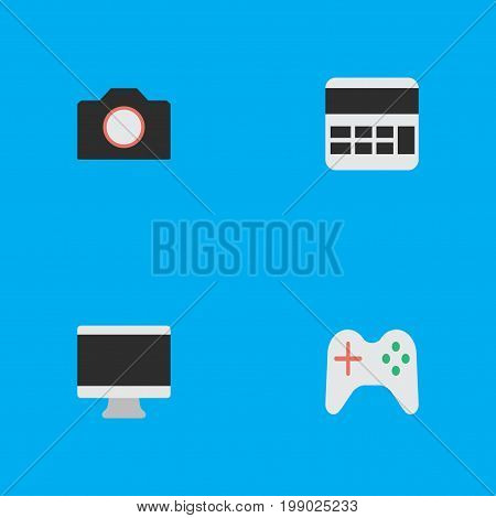 Elements Accounting, Gamepad, Photo Apparatus And Other Synonyms Calculator, Apparatus And Camera.  Vector Illustration Set Of Simple Devices Icons.