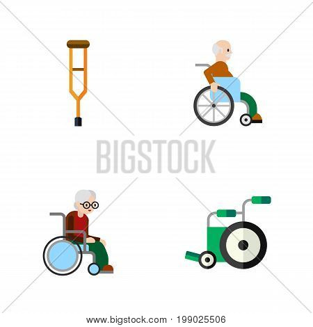 Flat Icon Handicapped Set Of Wheelchair, Stand, Handicapped Man Vector Objects