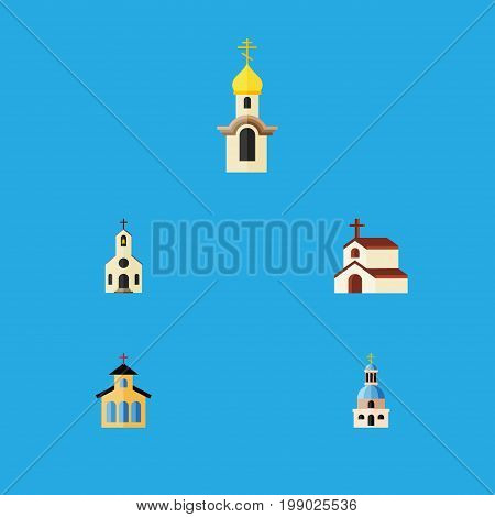 Flat Icon Building Set Of Structure, Church, Catholic And Other Vector Objects