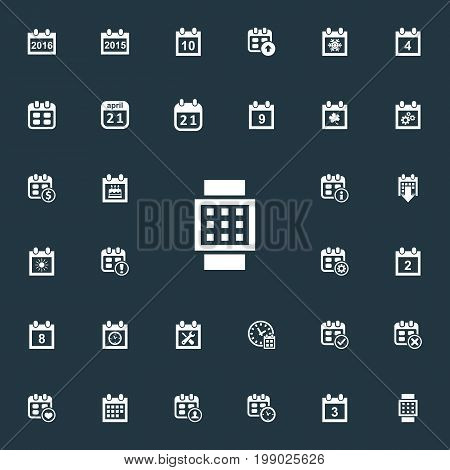 Elements Snowflake, Complete, Dollar And Other Synonyms Significant, Watch And 2.  Vector Illustration Set Of Simple Plan Icons.