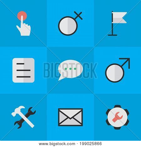 Elements Document, Message Bubble, Envelope And Other Synonyms Message, Red And Document.  Vector Illustration Set Of Simple UI Icons.