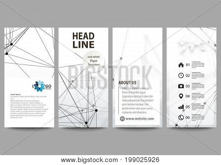 Flyers set, modern banners. Business templates. Cover design template, easy editable abstract vector layouts. DNA and neurons molecule structure. Medicine, science, technology concept. Scalable graphic.