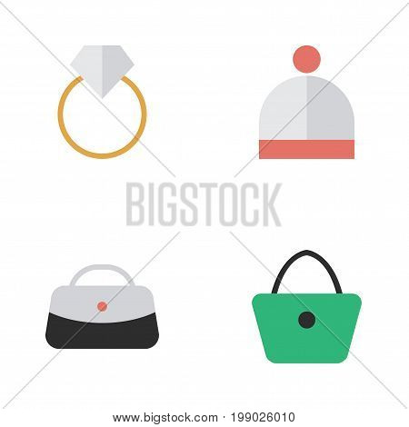 Elements Engagement, Woman Bag, Wool Wear And Other Synonyms Engagement, Hat And Handbag.  Vector Illustration Set Of Simple Accessories Icons.