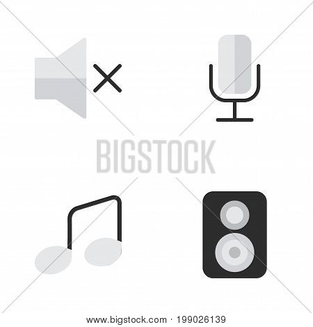 Elements Speaker, Music Sign, Volume And Other Synonyms Speaker, Sound And Note.  Vector Illustration Set Of Simple Melody Icons.