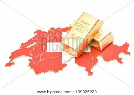 Foreign-exchange reserves of Switzerland concept 3D rendering isolated on white background