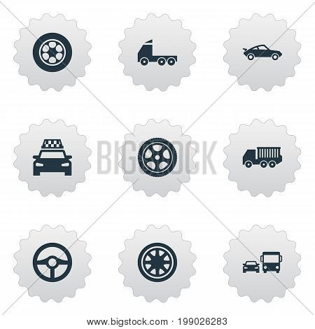 Elements Ring-Shaped, Duplicates, Old Style And Other Synonyms Tires, Race And Checkered.  Vector Illustration Set Of Simple Car Icons.