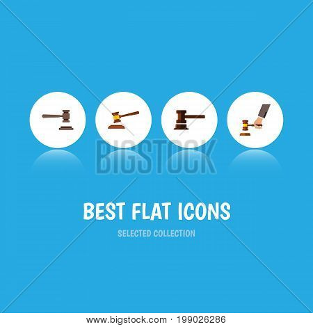 Flat Icon Court Set Of Hammer, Crime, Government Building And Other Vector Objects