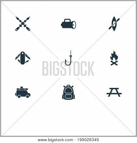 Elements Minivan, Swiss Army Knife, Campfire And Other Synonyms Trip, Table And Bench.  Vector Illustration Set Of Simple Outdoor Icons.