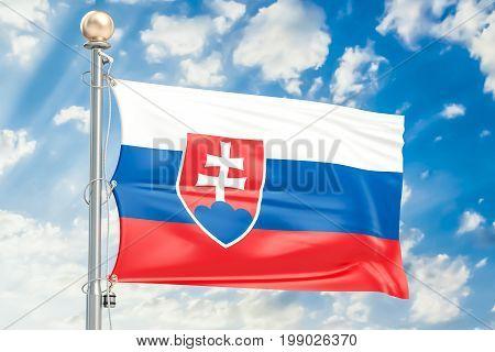 Slovak flag waving in blue cloudy sky 3D rendering