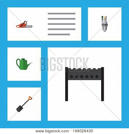 Flat Icon Farm Set Of Pump, Bailer, Spade And Other Vector Objects