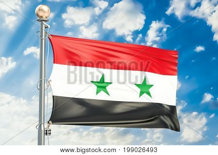 Syrian flag waving in blue cloudy sky 3D rendering