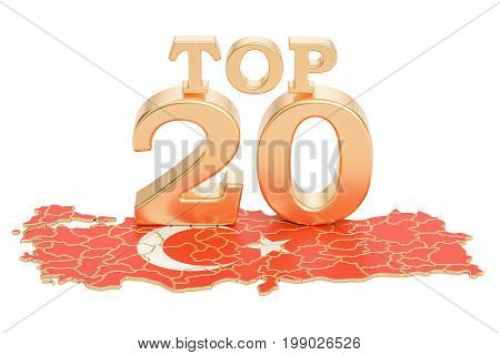 Turkish Top 20 concept 3D rendering isolated on white background