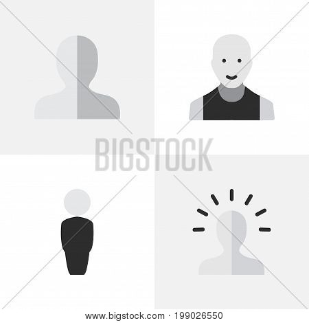 Elements Man, Contour, Profile And Other Synonyms Boy, Contour And Profile.  Vector Illustration Set Of Simple Avatar Icons.