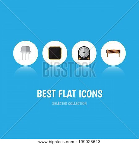 Flat Icon Electronics Set Of Resist, Bobbin, Cpu And Other Vector Objects