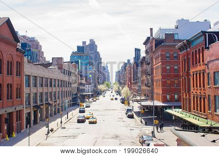Empty streets in West Village at New York Manhattan, USA