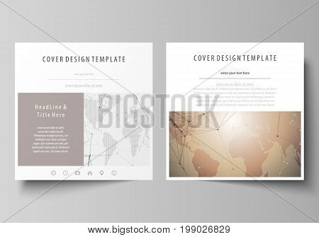 The minimalistic vector illustration of the editable layout of two square format covers design templates for brochure, flyer, booklet. Global network connections, technology background with world map