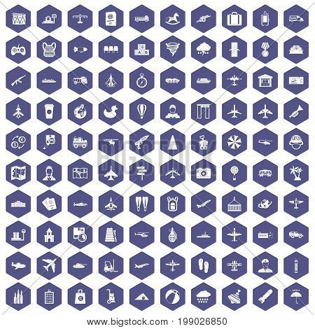 100 plane icons set in purple hexagon isolated vector illustration