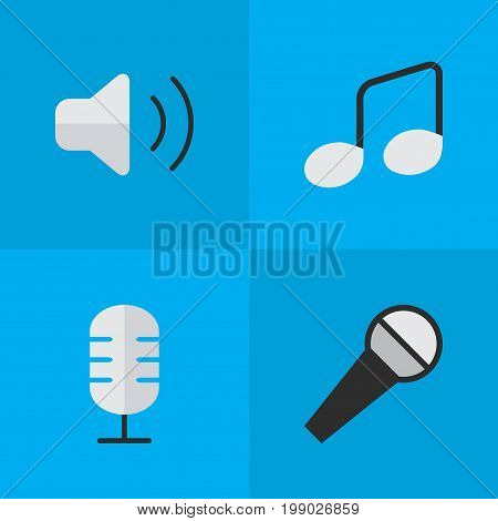 Elements Loudness, Music Sign, Mike And Other Synonyms Sign, Make And Note.  Vector Illustration Set Of Simple Melody Icons.