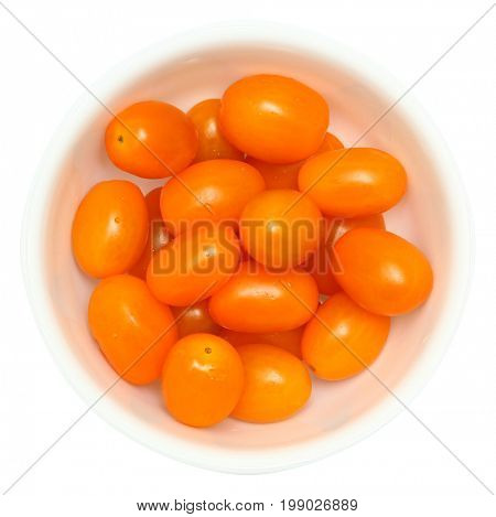 Sun Gold Cherry Tomatoes in White Bowl Isolated