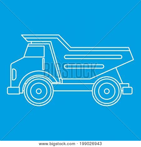 Dump truck icon blue outline style isolated vector illustration. Thin line sign