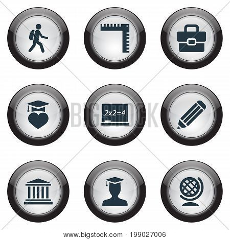 Elements Pen, Handbag , Pedagogue Synonyms Pedagogue, Backpack And Suitcase.  Vector Illustration Set Of Simple Education Icons.