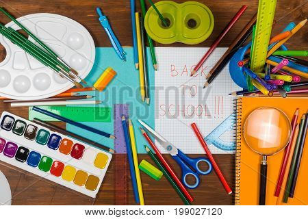 Back to school stop motion animation with colorful pens and paints