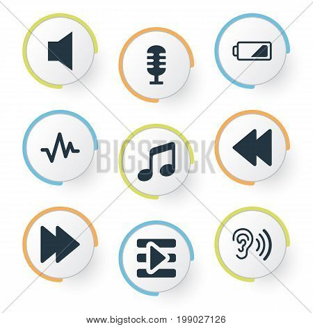 Elements Mike, Next, Musical Symbol And Other Synonyms Collection, Low And Music.  Vector Illustration Set Of Simple Music Icons.