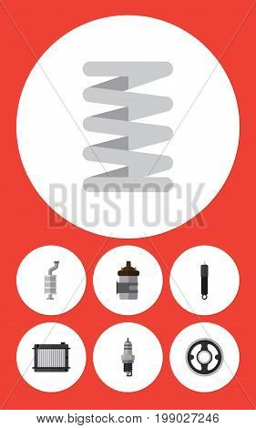 Flat Icon Component Set Of Spare Parts, Absorber, Silencer And Other Vector Objects