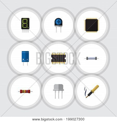 Flat Icon Appliance Set Of Transducer, Display, Resistance And Other Vector Objects