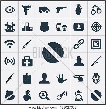 Elements Cash, Explode, Inspector And Other Synonyms Internet, Fingers And Handgun.  Vector Illustration Set Of Simple Police Icons.
