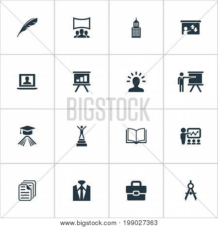 Elements Imagination, Personal Suitcase, Architect Drafting And Other Synonyms Book, Elegant And Admin.  Vector Illustration Set Of Simple Training Icons.