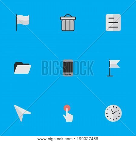 Elements Banner, Trashcan, File And Other Synonyms Smartphone, Bin And Phone.  Vector Illustration Set Of Simple Menu Icons.