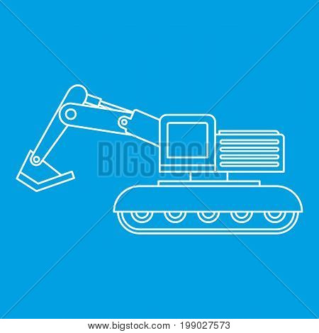Excavator icon blue outline style isolated vector illustration. Thin line sign