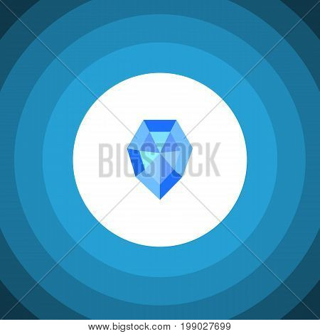 Gem Vector Element Can Be Used For Gem, Crystal, Diamond Design Concept.  Isolated Crystal Flat Icon.